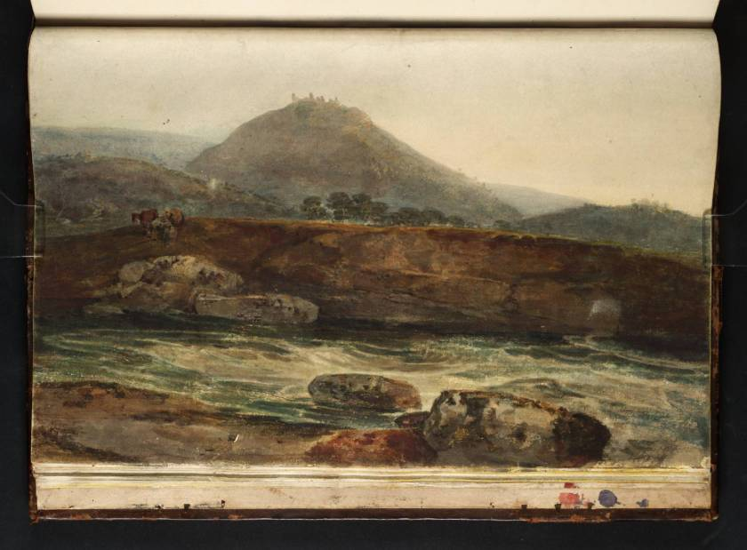 Dinas Bran in the background with the River Dee in foreground.  Painting by famous British landscape artist Turner.