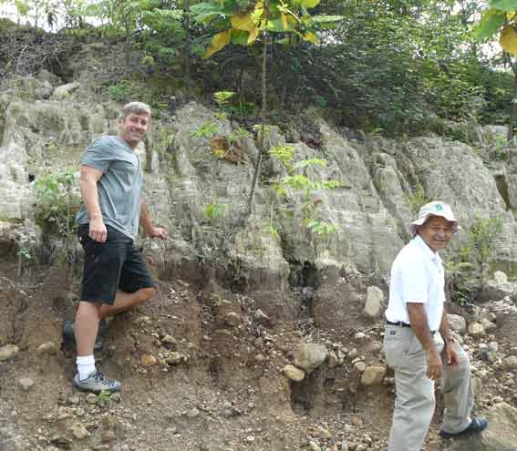 Dr. Dull and associate inspecting evidence for the 636 AD Ilopongo Eruption.