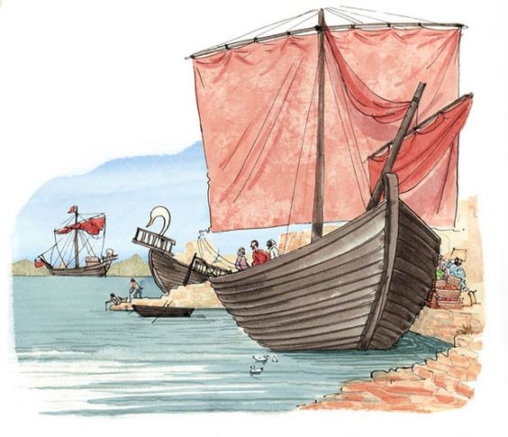 Ancient harbor showing a variety of late Roman sailing vessels